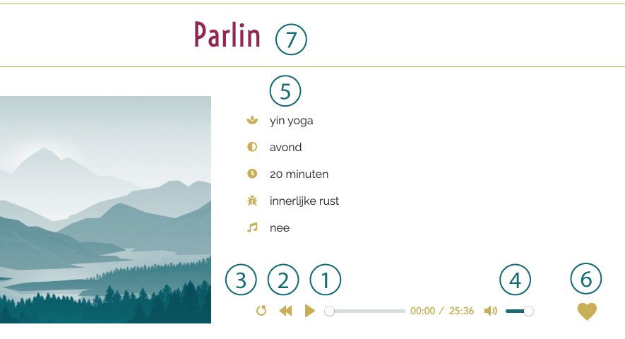 Instructies afspeelpagina online yin yogalessen